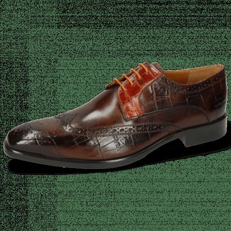 Derby shoes Lewis 3 Big Croco Mid Brown Winter Orange