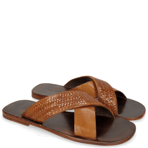 Mules Sam 23 Woven Tan Dark Brown