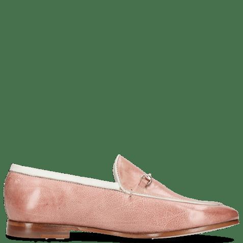 Loafers Scarlett 47 Pisa Rosa Nappa Binding Trim Gold