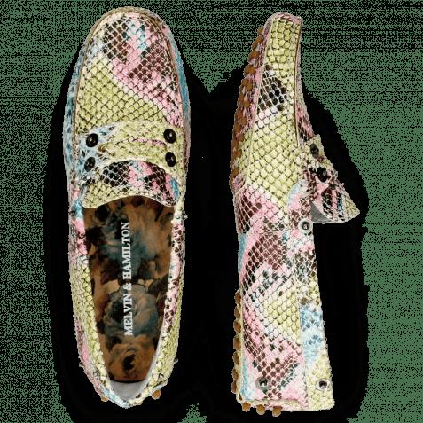 Loafers Caroline 1 Snake Multi Fuxia Thread Flower
