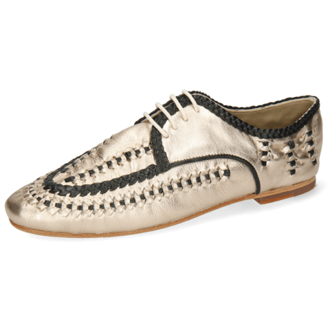 Derby shoes Aviana 2 Nude Gold Nappa Interlaced Black