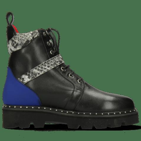 Ankle boots Winslet 4 Nappa Black Lycra Fluo Blue Snake