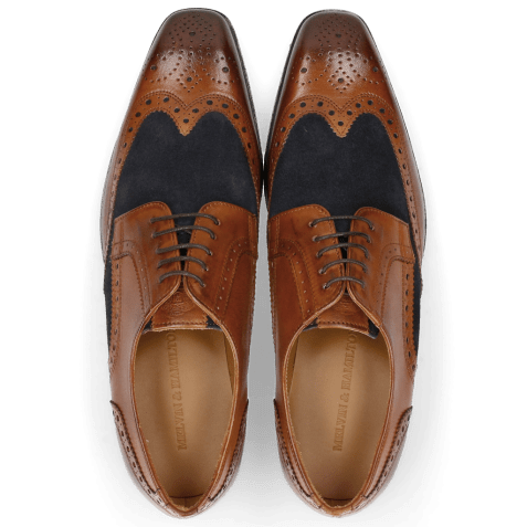 Derby shoes Rico 16 Rio Wood Suede Pattini Navy