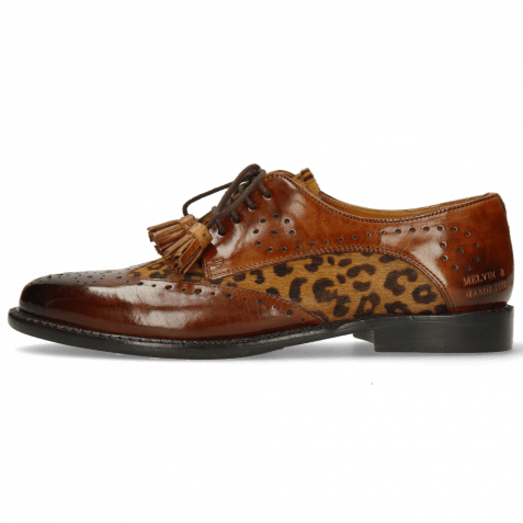 Derby shoes Selina 41 Wood Hairon Leo Cognac