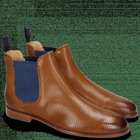 Ankle boots Susan 10A Perfo Tan Elastic Guglia Blue