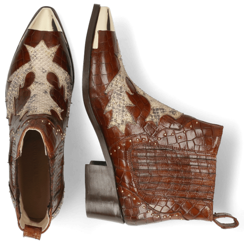 Ankle boots May 5  Crock Mid Brown Snake Rivets Gold