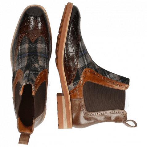 Ankle boots Eddy 28 Crock Mid Brown Wood Textile Crayon Chestnut
