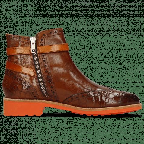 Ankle boots Selina 25 Crock Guana Wood Strap Winter Orange