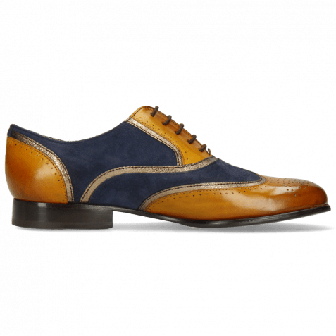 Oxford shoes Sally 38 Indian Yellow Nappa Aztek Gold Suede Navy