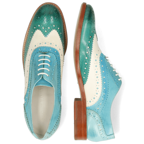 Oxford shoes Amelie 10 Vegas White Turquoise Abyss Mermaid