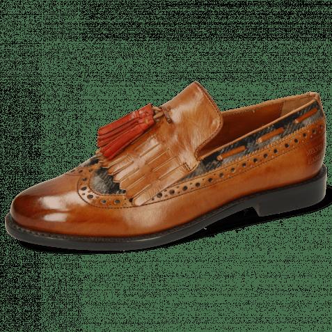 Loafers Selina 3 Cognac Textile Crayon Tassel