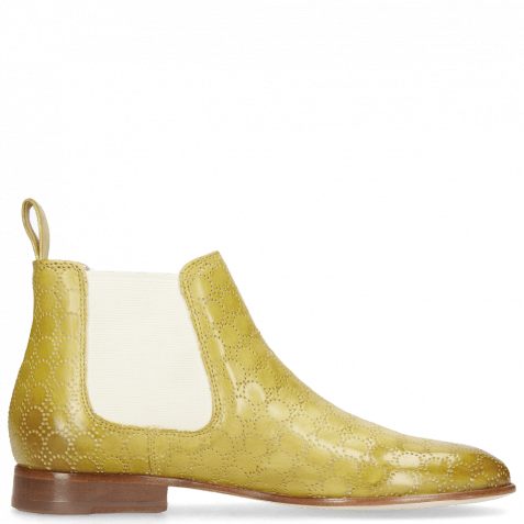 Ankle boots Sally 25 Vegas Perfo Olivine Elastic Off White