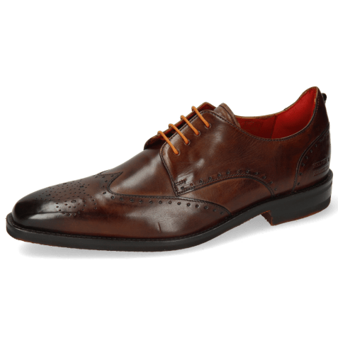 Derby shoes Dave 2 Mid Brown Laces Orange