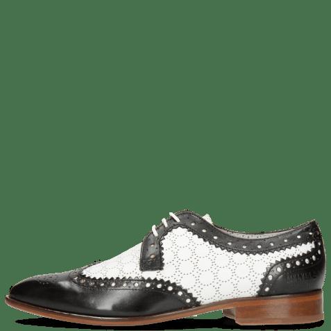 Derby shoes Jessy 53 Black Nappa Perfo White Lining Nappa Flex