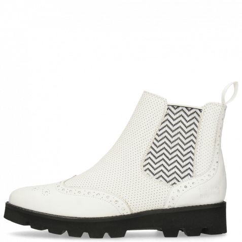 Ankle boots Selina 6 Nappa Perfo White Elastic Zigzag