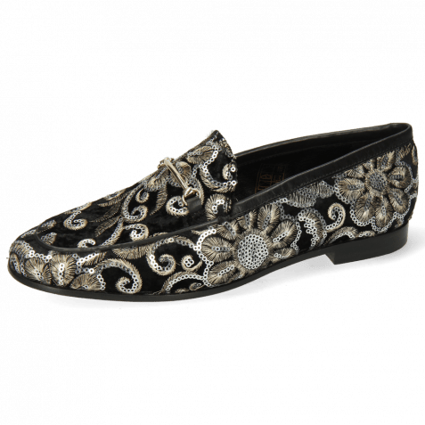 Loafers Scarlett 22 Textile Zardosi Black Trim Gold