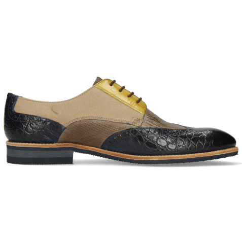 Derby shoes Bobby 1 Croco Marine Imola Dice Chestnut Vegas Olivine Textile Indonesia