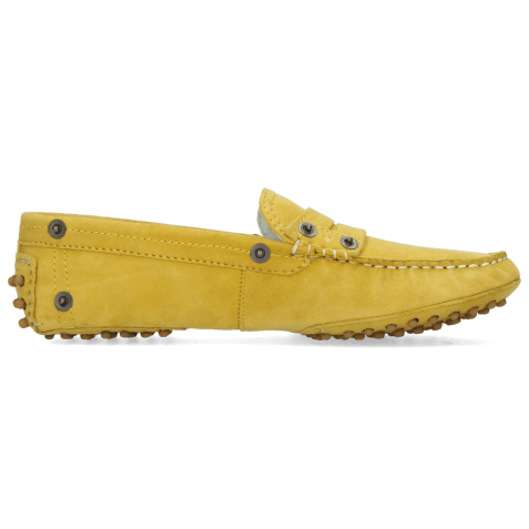 Loafers Caroline 1 Goat Suede Yellow Dots