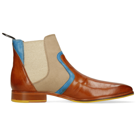 Ankle boots Lewis 26 Imola Tan Mid Blue Textile Indonesia Camel