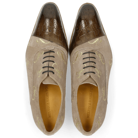 Oxford shoes Ricky 9 Crock Suede Smoke Gold