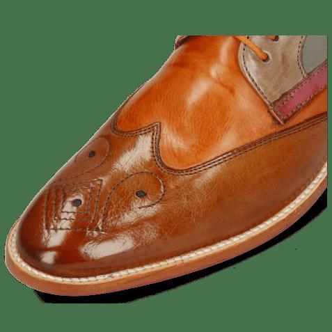 Derby shoes Betty 16 Pavia Tan Arancio Oxygen Lilac Satellite