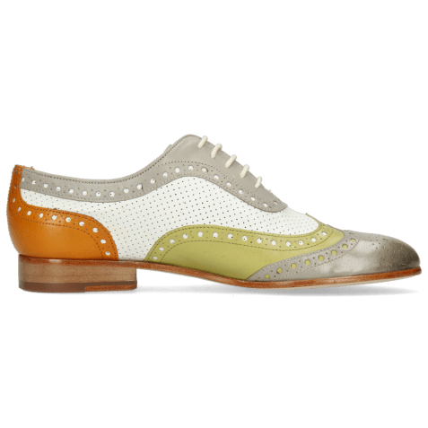 Oxford shoes Sally 97 Salerno Light Grey Mint Orange Nappa Perfo White