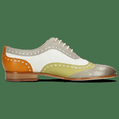 Oxford shoes Sally 97 Salerno Light Grey Mint Orange Nappa Perfo White