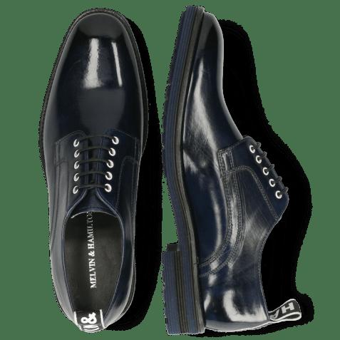 Derby shoes Eddy 54  Navy Eyelets White Strap