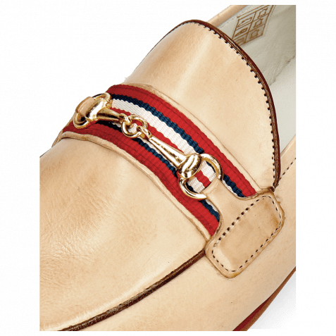 Loafers Scarlett 45 Glove Nappa Ivory Binding Tan Trim Gold
