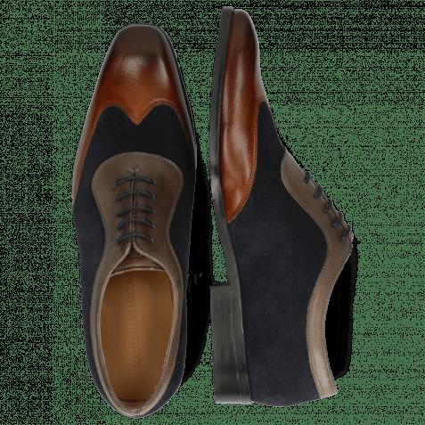 Oxford shoes Rico 8 Rio Mid Brown Suede Pattini Perfo Navy Stone