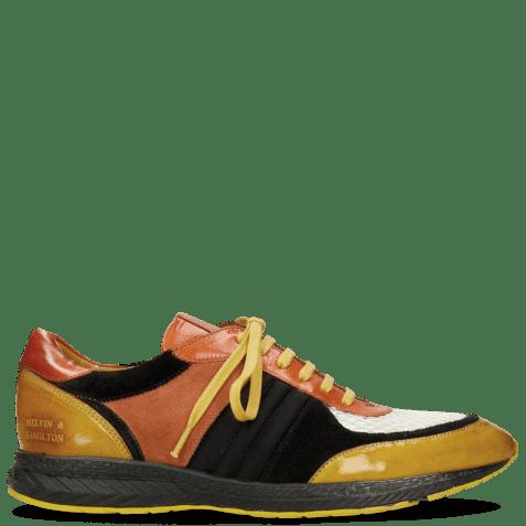 Sneakers Blair 13 Yellow Suede Pattini Black Underlay Milled White Orange Lycra