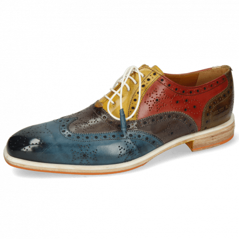 Oxford shoes Jeff 28 Ice Lake Deep Steel Indy Yellow Rubino Khaki