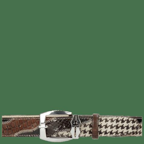 Belts Larry 2 Python Brown Hairon Black White Crock Mogano Sword Buckle
