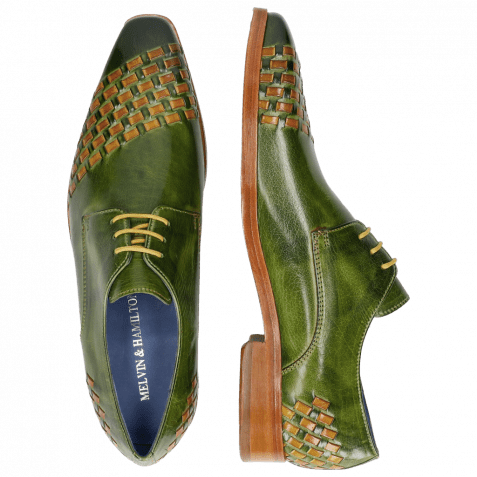 Derby shoes Lewis 24 Classic Green Interlaced Yellow LS