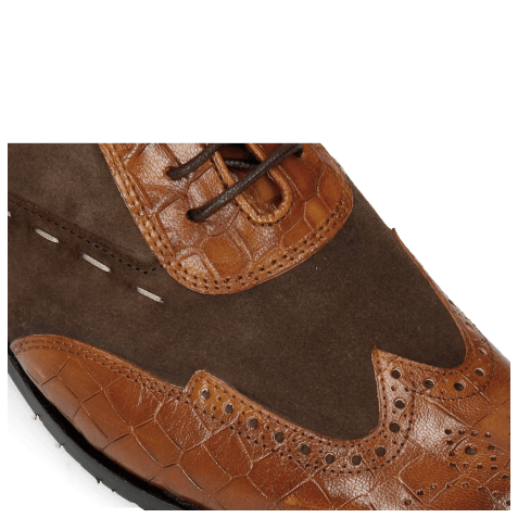 Oxford shoes Rico 18 Venice Crock Wood Suede Pattini Dark Brown