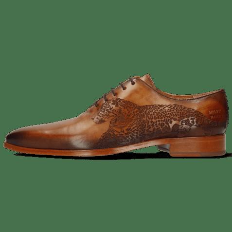 Oxford shoes Lewis 37 Tan Shade Dark Brown Lasercut Leopard