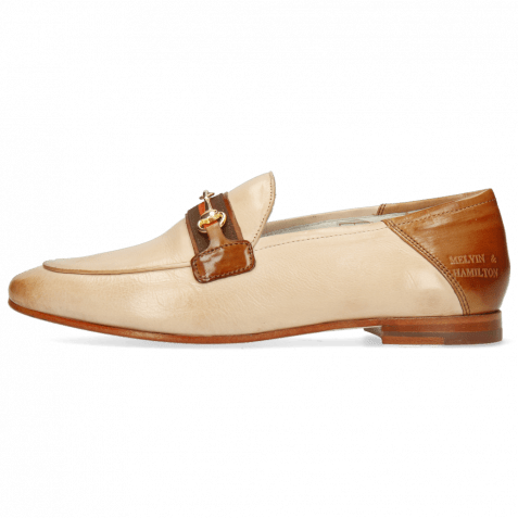 Loafers Scarlett 45 Glove Nappa Ivory Tan Trim Gold