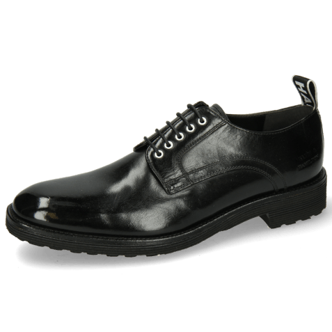 Derby shoes Eddy 54 Black Eyelets White Strap