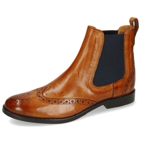 Ankle boots Amelie 5 Tan Elastic Navy Lining
