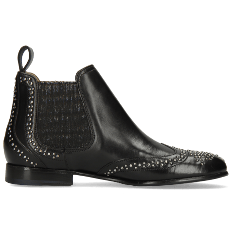 Ankle boots Sally 45 Black Rivets Elastic Glitter