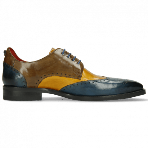 Derby shoes Dave 2 Ice Indy Yellow Khaki Electric Blue