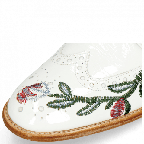 Derby shoes Eddy 38 Soft Patent White Embroidery Flowers