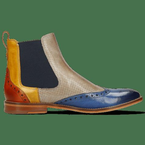 Ankle boots Amelie 5 Venice Neptune Blue Yellow Arancio Perfo Digital