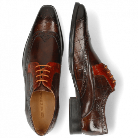 Derby shoes Lewis 3 Big Croco Mid Brown Winter Orange