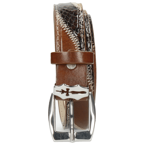 Belts Linda 2 Mid Brown Python Brown Sand Sword Buckle