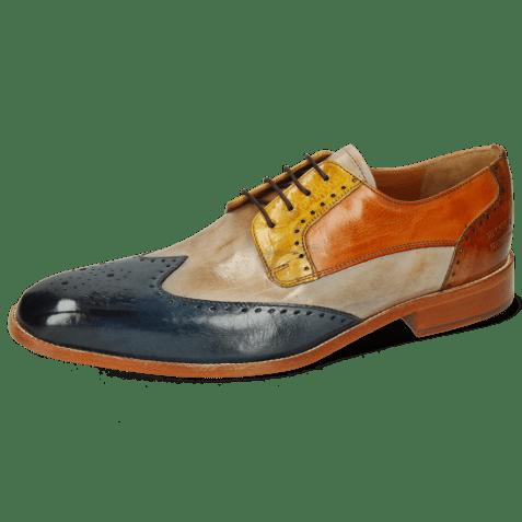 Derby shoes Jeff 14 Mock Navy Digital Sun Arancio Tan