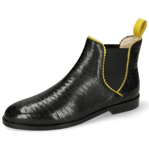Ankle boots Susan 67 Big Croco Black Binding Fluo Yellow