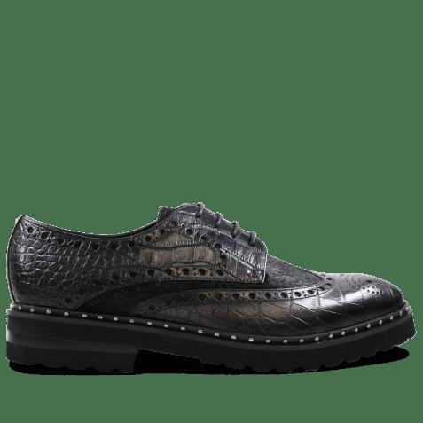 Derby shoes Matthew 4 Big Croco Hair On Black Black Aspen EVA Black Rivets
