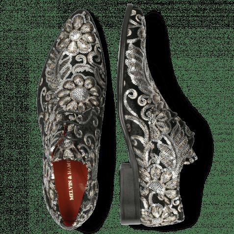 Derby shoes Toni 1 Textile Zardosi Black Lining