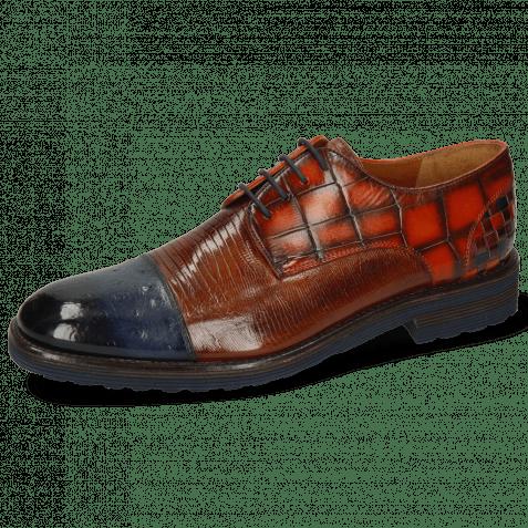 Derby shoes Eddy 11 Ostrich Navy Lizzard Wood Turtle Winter Orange